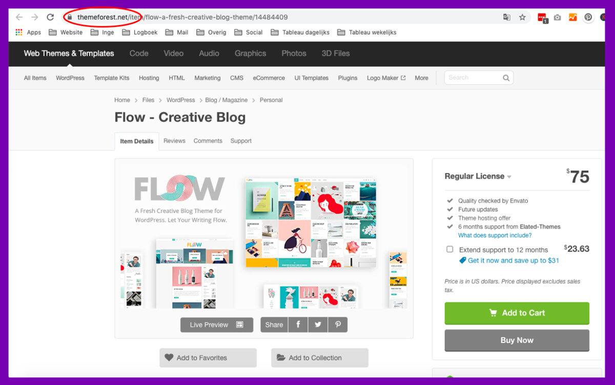 Wil je een blog starten? Zoek op themeforest naar geschikte wordpress templates.