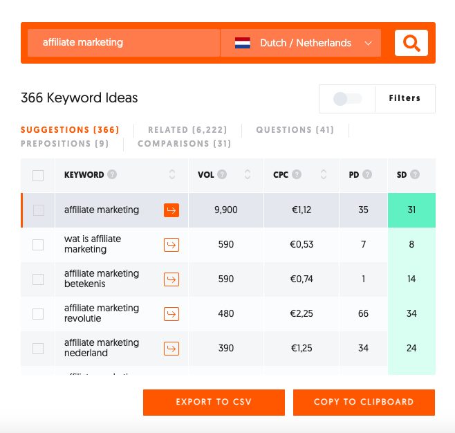 SEO analyse naar affiliate marketing met UberSuggest